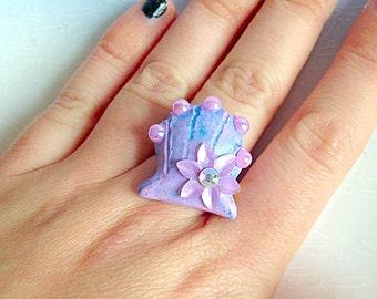 Mermaid Shell Ring - Kawaii, Pastel, Fairy Kei, Sweet Lolita, Ocean, Siren, Polymer Clay