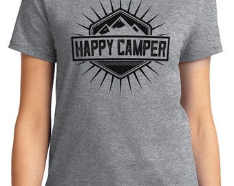Happy Camper Camping Outdoors Unisex & Women's T-shirt Short Sleeve 100% Cotton S-2XL Great Gift (T-CA-06)