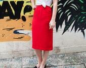 Vintage 40s Calf Length Pillarbox Red Skirt