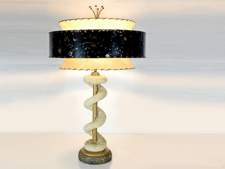 Mid Century Modern Table Lamp Three Tiered Shade Fiberglass