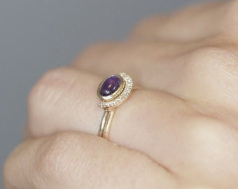 Purple Amethyst Engagement Ring  14K Gold Amethyst and Diamond Bridal Wedding Set Elegant Engagement Ring Gothic Engagement Ring Boho Ring