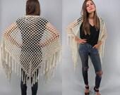 Vintage 70s Crochet Shawl, Boho Shawl, Bohemian, Hippie, Fringe Cape, Poncho, Wrap Shawl Δ size: xs / sm