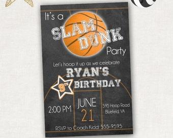 Slam Dunk Basketball Birthday Invitation - Personalized Invite - Basketball Party - Printable