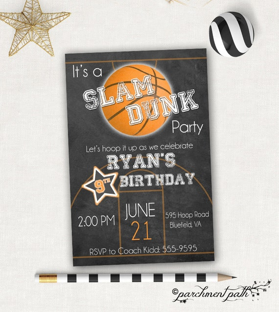 Slam Dunk Basketball Birthday Invitation