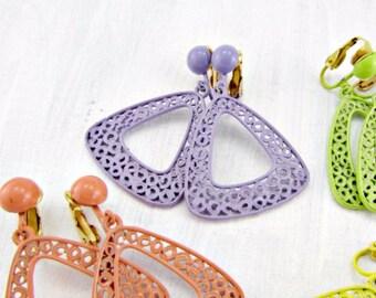 Vintage 80's Earrings, Purple Enamel Earrings, Filigree Earrings, Geometric Triangle Earrings, Clip-On Drop Dangle Earrings, 1980s Jewelry