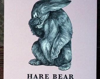 Hare Bear Woodblock