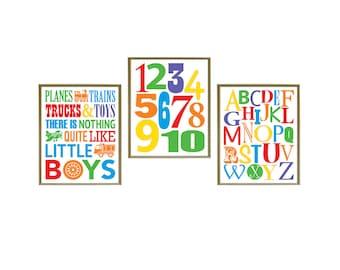 "Planes Trains Trucks and Toys Wall Art, Digital SET OF 3 8""x10"" Printable Wall Decor, nursery print, kids art, kids room decor"
