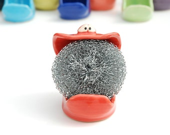 SpongeMonster - cherry red - GREAT for holding your sponge or soap on the sink in your kitchen