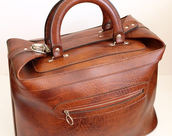 Vintage Holdall - 1970s Luggage - Travel Bag - Overnight Bag - Small Suitcase - Long Weekend - Brown Vinyl - Northern Soul Bag