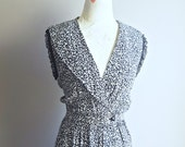 Vintage Black and White Dress   Sailor Collar   80s Dress   Day Dress   Lace Sleeves   Wrap Dress