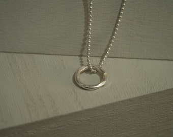 Hammered Fine Silver Endless Circle Spirit Necklace on Sterling Silver Ball Chain  / Gift for women