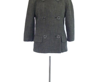 Gray Tweed Coat - Brown Mink Fur Collar. Vintage 50s Wool Jacket. Extra Small - Small