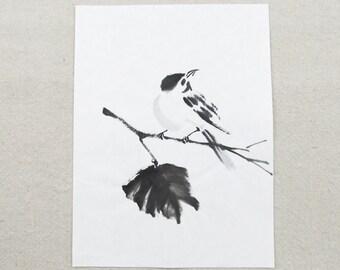 vintage watercolor painting, BIRD, minimalist art, mid century modern, original art, brush painting, Japanese art, ink painting
