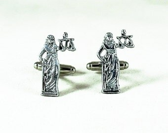 Mens Cufflinks Silver Lady Justice Lawyer Mens Accessories Handmade