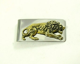 Money Clip,  Brass Lion  Wedding Accessory Groomsmen Gifts  Handmade