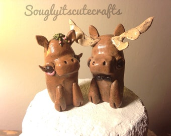 Moose Wedding Cake Toppers Animal Clay figurines