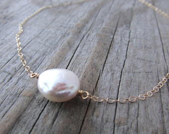 Small Pearl Necklace, delicate layering necklace, choker necklace, coin pearl, gold chain