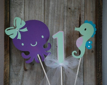 Under the Sea Purple and Teal Birthday Centerpiece, Under the Sea Banner, Under the Sea Baby Shower