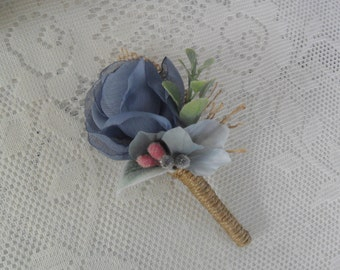Rustic Boutonniere,Dusty Blue Boutonniere,Wedding Lapel Flower,Grooms Boutonniere,Grooms Lapel Flower,Woodland Boutonniere,YOUR CHOICE COLOR
