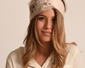 RESERVED - ivory headband / gold hairband / evening turban / fancy hairband with diamante made in Israel