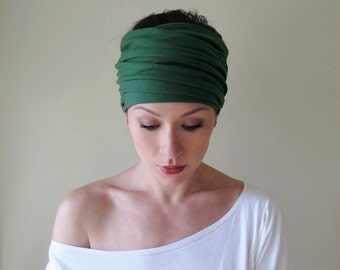PINE GREEN Head Scarf - Forest Green EcoShag Jersey Yoga Headband - Dark Green Hair Wrap - Womens Ear Warmer Hair Accessories - Head Warmer