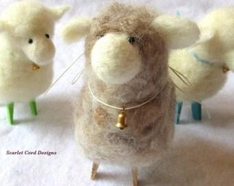 Felted Sheep, Needle Felted Sheep, Needle Felted Animal, Sheep Soft Sculpture, Primitive Doll, Easter Lamb