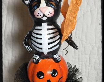 Halloween Folk Art Cat Kitty Skeleton Sculpture Art Doll Collectible Decoration Mibrky Creations OOAK