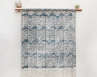 Large Wave Block Printed Canvas Wall Hanging