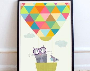 Hot air balloon nursery decor, baby animal prints, baby nursery decor, baby room decor, kids art print, kids wall Art, children decor