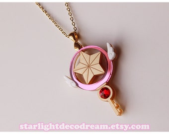 Cardcaptor Sakura Clow Star Key Inspired Gold Acrylic Necklace or Phone Strap for Mahou Kei, Magical Girl Fashion