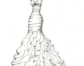 weddinng dress illustration - great gift idea