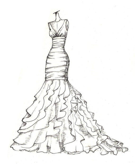 Items similar to weddinng dress illustration great gift - Coole partykleider ...