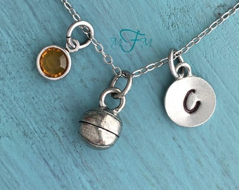 Basketball Charm Necklace, Personalized Necklace, Silver Pewter Basketball Charm, Custom Necklace, Swarovski Crystal birthstone