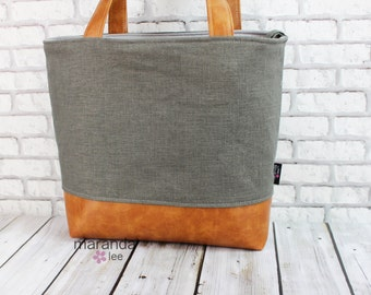 Lulu Large Tote in Charcoal Linen and PU Leather 6 pockets Nappy Work Purse
