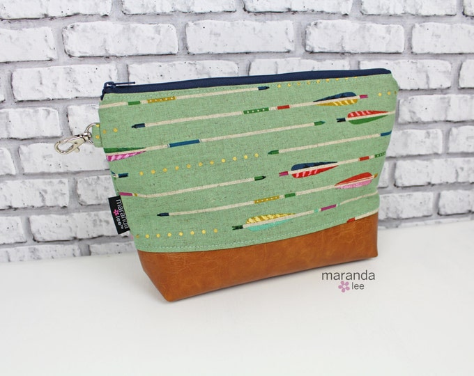 AVA Clutch - Arrows with PU Leather READY to SHIp Cosmetic Archery Diaper bag Travel Make Up Zipper Pouch