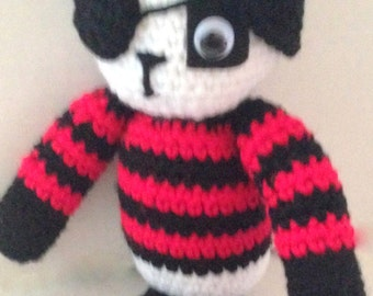 STUFFED PIRATE PANDA  Crochet buchaneer   For boys or girls
