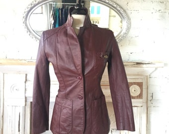 Burgandy Leather Etienne Aigner Jacket