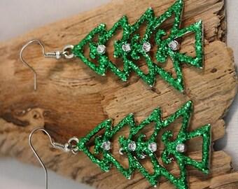 Christmas Tree Silver Plated Earrings - Item 1668