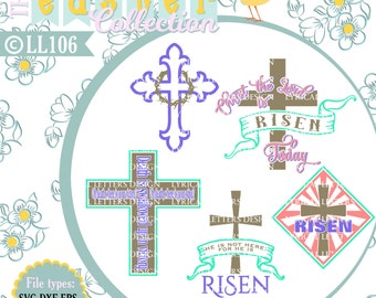 Easter Cross He Is Risen LL106 - Vector Art - Cutting File - Graphic Design - Includes ai, svg, eps, dxf (for Silhouette us
