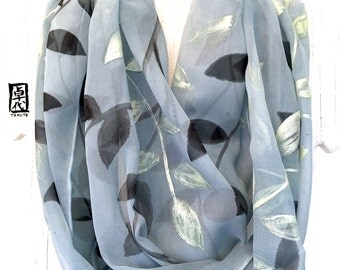 Circle Scarf, Silk Scarf Handpainted, ETSY, Birthday Gifts for Her, Gray Scarf, Infinity Scarf, Black and Gold Vine Leaves Scarf, 14x72 in.