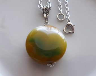 Green Gemstone Charm Necklace- Pendant Chain Link Necklace  (495)