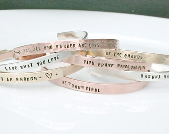 Skinny Cuff Bracelet - Handstamped Bracelet - Inspirational Jewelry - Stacking bracelets - Coordinate Jewelry - Arrow Bracelet