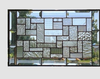 Clear stained glass panel window geometric abstract stained glass window panel window hanging home decor 0144 18 1/4 x 11 1/4