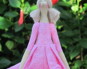 Cloth doll cute Tilda doll soft fabric doll, rag doll - gift for girls, baby shower and nursery decor gift idea