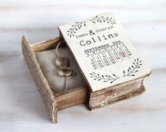 Wedding Ring Box Save the Date Ring Bearer Box Calendar Wedding Ring Box Personalized Wedding Box Pillow Keepsake Box Custom Wedding Holder