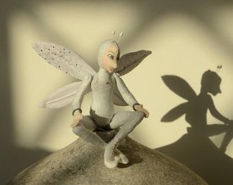 Christmas Fairy, OOAK Art Doll, Snowflake