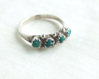 Turquoise Stacking Ring Sterling Silver Size 5 .5 Vintage Native American Petit Point Southwestern Stackable Band