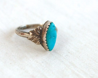 Turquoise Ring Size 4 .75 Sterling Silver Vintage Southwestern Marquise Diamond Pinky Ring Midi Ring Under 25