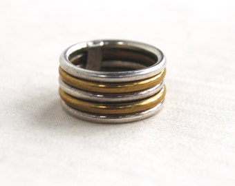 Mixed Metal Stacked Ring Band Size 5 .25 Vintage Mexican Wide Cigar Band Sterling Silver and Brass Industrial Jewelry