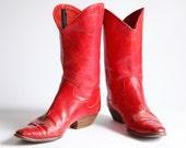 Vintages 80s Red Leather Cowgirl Boots Supple Leather Ankle Boots size